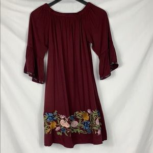 NWT Burgundy Solitaire Embroidered Boho Dress